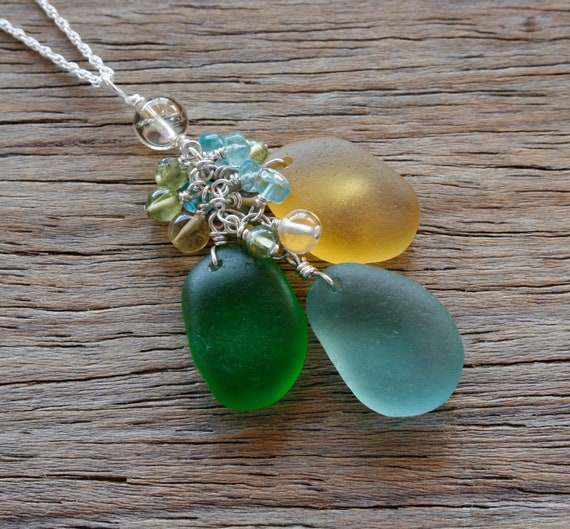 Sea Glass Jewelry Yellow Kelly Green Aqua Charm Necklace Gemstone Accents Sterling Silver
