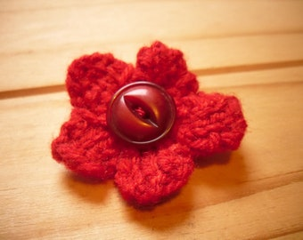 Mini Flower Brooch, Flower Pin, Knitted Brooch Profits go to Charity