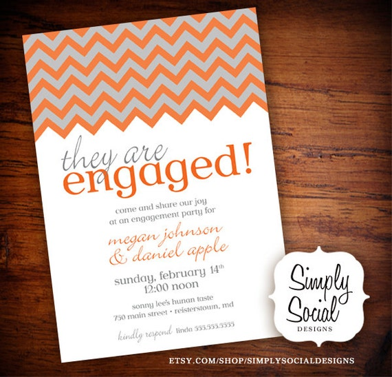 Items similar to chevron engagement party invitation grey for Etsy engagement party invites
