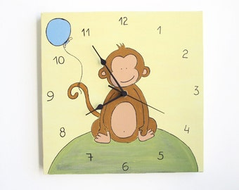 Children's clock- Baby Monkey yellow and green  ,Hand painted on canvas- nursery clock, kids clock, kids wall art
