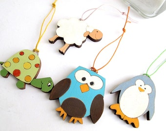 Christmas Ornaments animals Holiday for kids wooden holiday decor, Christmas gift set for kids, children decor