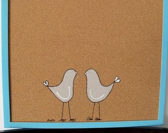 Cork Board-Grey love birds with blue frame- Children blue hand painted message board, Bulletin Board, office  memo board