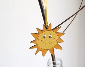 Ornament - kids HOLIDAY decor, yellow sun wooden holiday decor, Christmas gift for boys and girls, children decor