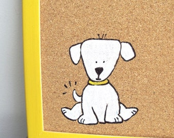 Decorative Memo Cork Board- Children yellow and white puppy hand painted message board, Bulletin Board, kids cork board