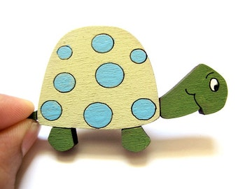 Magnets set of 4 wooden colorful turtles funny magnets for children/teens/adults gift
