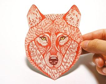 Red Wolf Face wild animal sticker, 100% waterproof vinyl label.