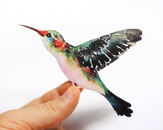 Hummingbird bird sticker, // SALE 3 for 2 // 100% waterproof vinyl label.