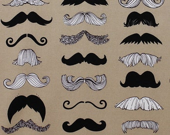 Alexander Henry - Where's my Stache - Taupe Cotton Quilting Fabric - BTY