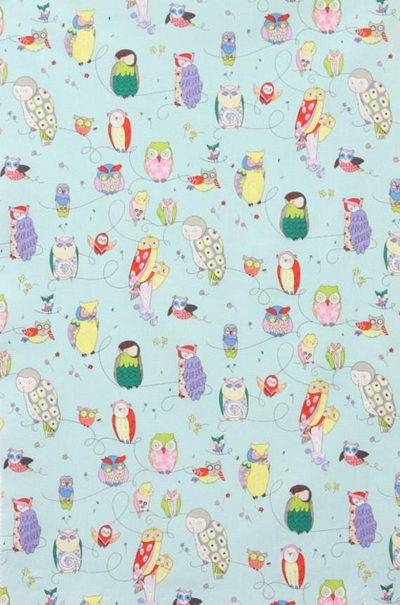 Spotted Owl - Alexander Henry - Light Blue - Fabric - 1 yard - Precut