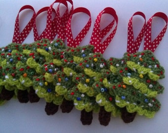 WOW Ornament SALE Crochet Handmade christmas tree cute for holiday decoration  set of 3