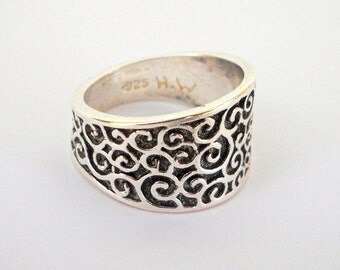 Oxidized Silver Ring, Wide Silver Ring, Silver Wedding Ring, Filigree Ring