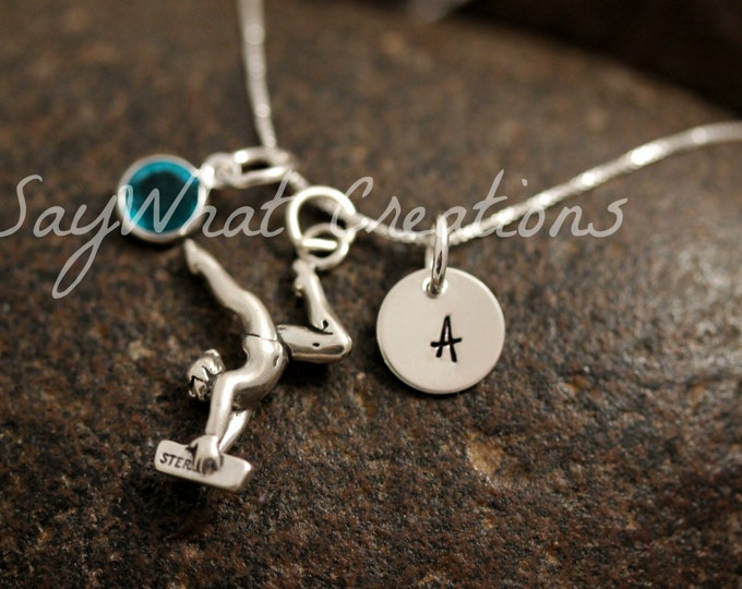 Sterling Silver Mini Initial Charm Necklace with Gymnast Charm and birthstone