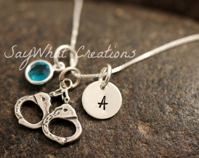 Sterling Silver Mini Initial Charm Necklace with Hand Cuffs Charm and birthstone