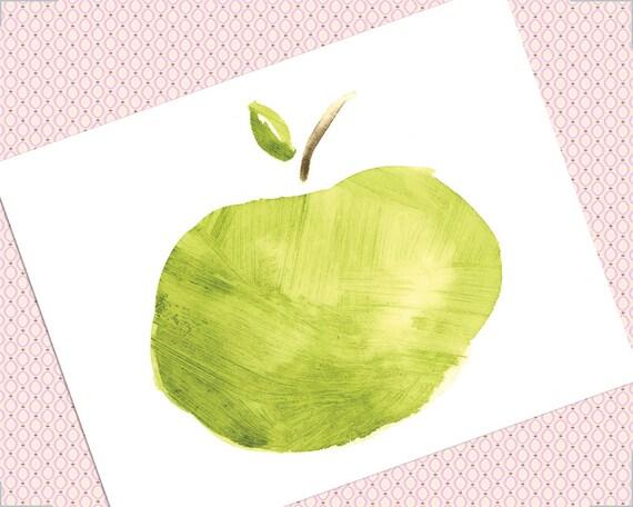 Set of 6 Fresh Apple Notecards Watercolor