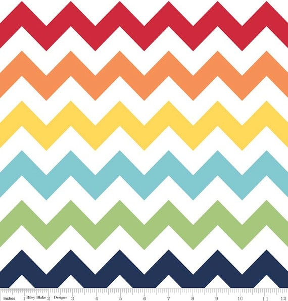 Riley Blake Rainbow Chevron- Half yard