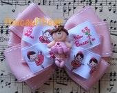 Multi Layered Little Brunette Ballerina Ballet Girl Pink Hair Bow Barrette Clip M2M
