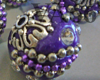 Vintage Look DIY Detailed Beads Purple Silver Color 18mm x 19mm, 4p with silver details, Rhinestones Through hole for jewelry making, craft