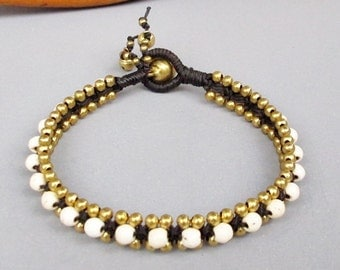Summer Day Knot Bracelet with white Howlite Bead B151