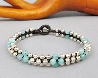 Round Light Amazonite Beaded with Silver Colour Bead Stud Bracelet B154