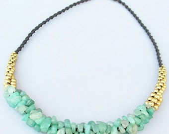 Mulberry Nugget Aventurine and Brass Bead Macrame Necklace N227
