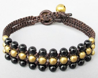 Mini Triple Row Macrame Bracelet with Black Onyx Bead B185