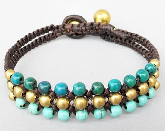 Mini Triple Row Macrame Bracelet with Blue and Green Stone Bead B185