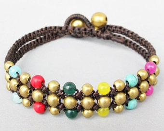 Mini Triple Row Macrame Bracelet with Colourful Bead B185