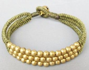 Multi Line Brass Bead Light Green Wax Cord Snake Knot Bracelet B188