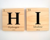 ONE custom wooden elements tile- Periodic table of elements