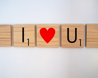 Scrabble Wall Art I heart U with red heart - 3 tiles