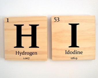 TWO custom wooden elements tiles - Periodic table of elements