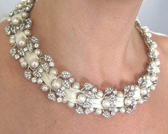 pearl necklace ,Ivory Swarovski Pearls Necklace, Weddings  pearl necklace - Made to Order