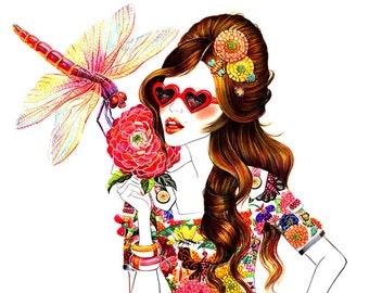 "Watercolour Fashion Illustration 13""x16"" print - Miss Moschino"