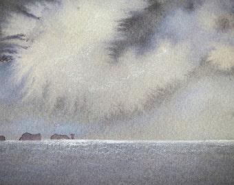 Original watercolour painting ocean storm clouds