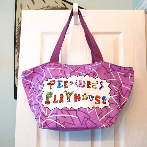 Pee Wee's Playhouse tote handbag Purse Bag 80s Pee Wee Herman Paul Reubens back to school tote carryall FREE SHIP retro vintage