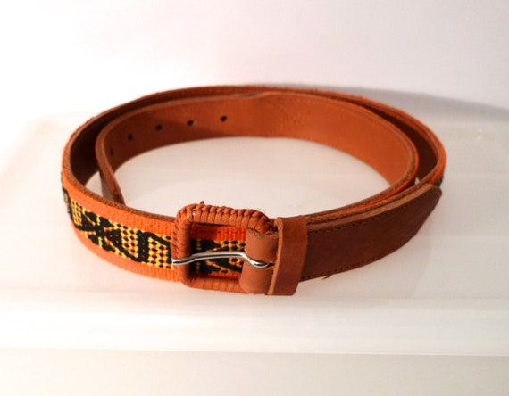 mexican woven leather belt black orange yellow by