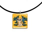 Fairy Cat, Caribbean, Tropical kitty, Cat Fairy, Frixie fairy cat, Pixie, Fantasy art glass tile pendant, aqua teal and mustard yellow