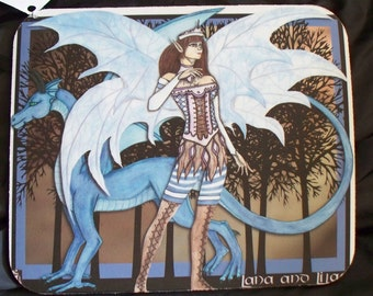 Dragon and Fairy artwork, fae mousepad, for her, fae, glass tile pendant, faerie necklace, tan and blue colors