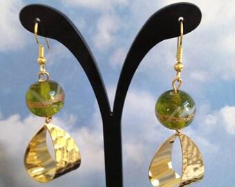 Italian Glass and Gold Earrings