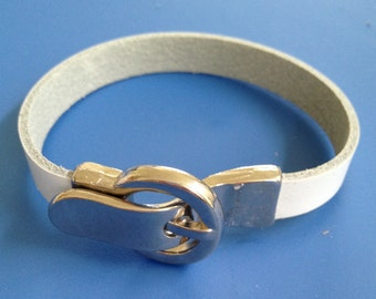 Silver Buckle and White Leather Bracelet
