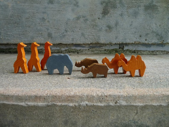 Instant Collection Vintage Wooden Animals Jungle Wild Painted Giraffe Elephant Hippo Camel Printer Tray Diorama Windowsill Shelf Mixed Media