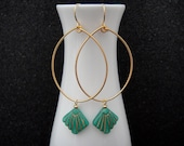 Gold Tear Drop Hoops with Turquoise and Gold Art Deco Fan Earrings