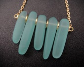 Gorgeous Ocean Inspired Aqua Turquoise Blue Sea Glass Tusk Necklace in Gold