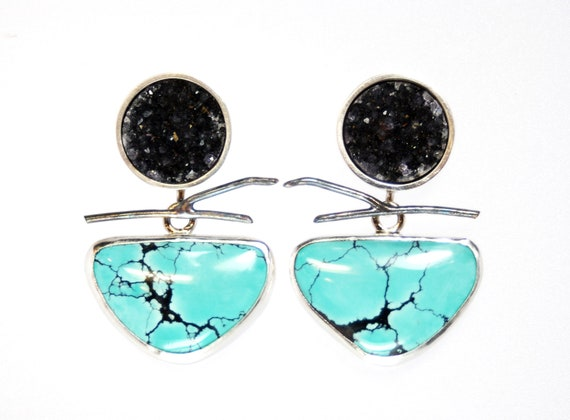 RESERVED turquoise and drusy earrings with branch in sterling silver- artisan jewelry- OOAK- Cracks In The Sky