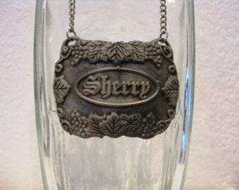 Vintage Pewter Sherry Decanter Tag