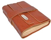Light Brown Leather Journal with Tea Stained Pages