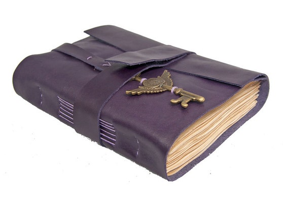 Dark Purple Leather Journal with Tea Stained Pages