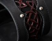 Leather Cuff Bracelet:  Celtic Crimson Cuff