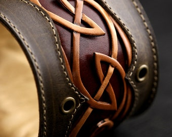 Ethos Leather Cuff, Leather Bracelet, leather cuff with a celtic design: Regal Dara Cuff