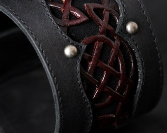 Leather Cuff Bracelet:  Celtic Crimson Cuff